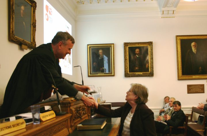Georgina Mace receiving the Linnean Medal (Zoology) for her service to science (2016)