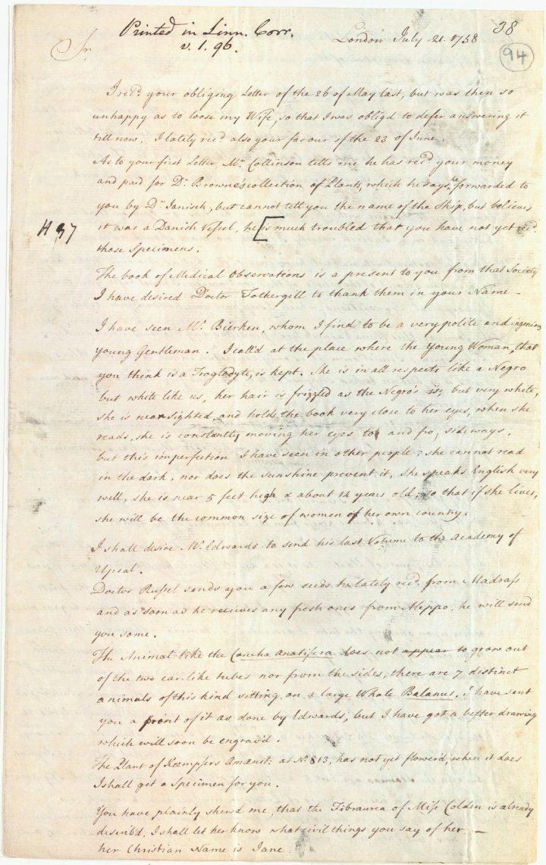 Ellis to Linnaeus, 21 July 1758