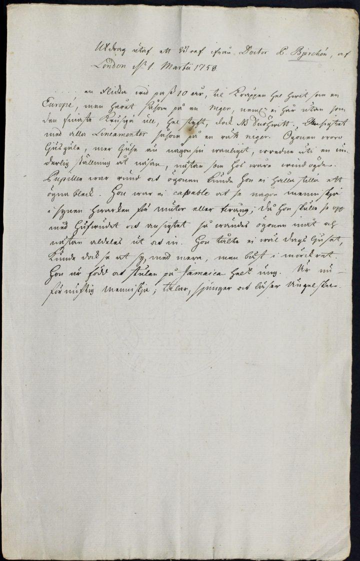 Solander copy of af Bjerken letter to Linnaeus