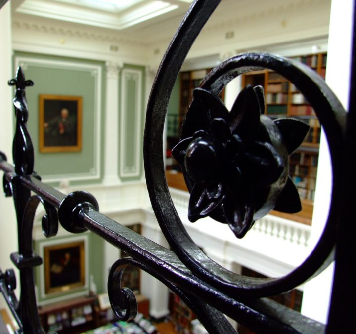 Detail of railing in Library Upper Gallery