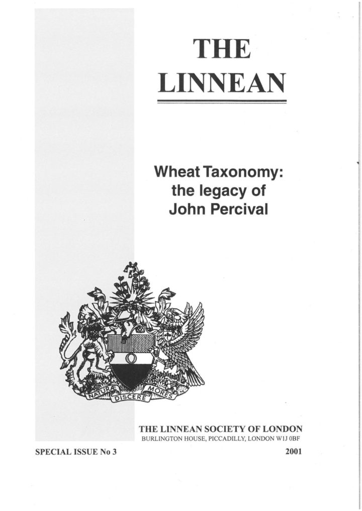 The Linnean Special Issue Number 3 Wheat Taxonomy: the legacy of John Percival
