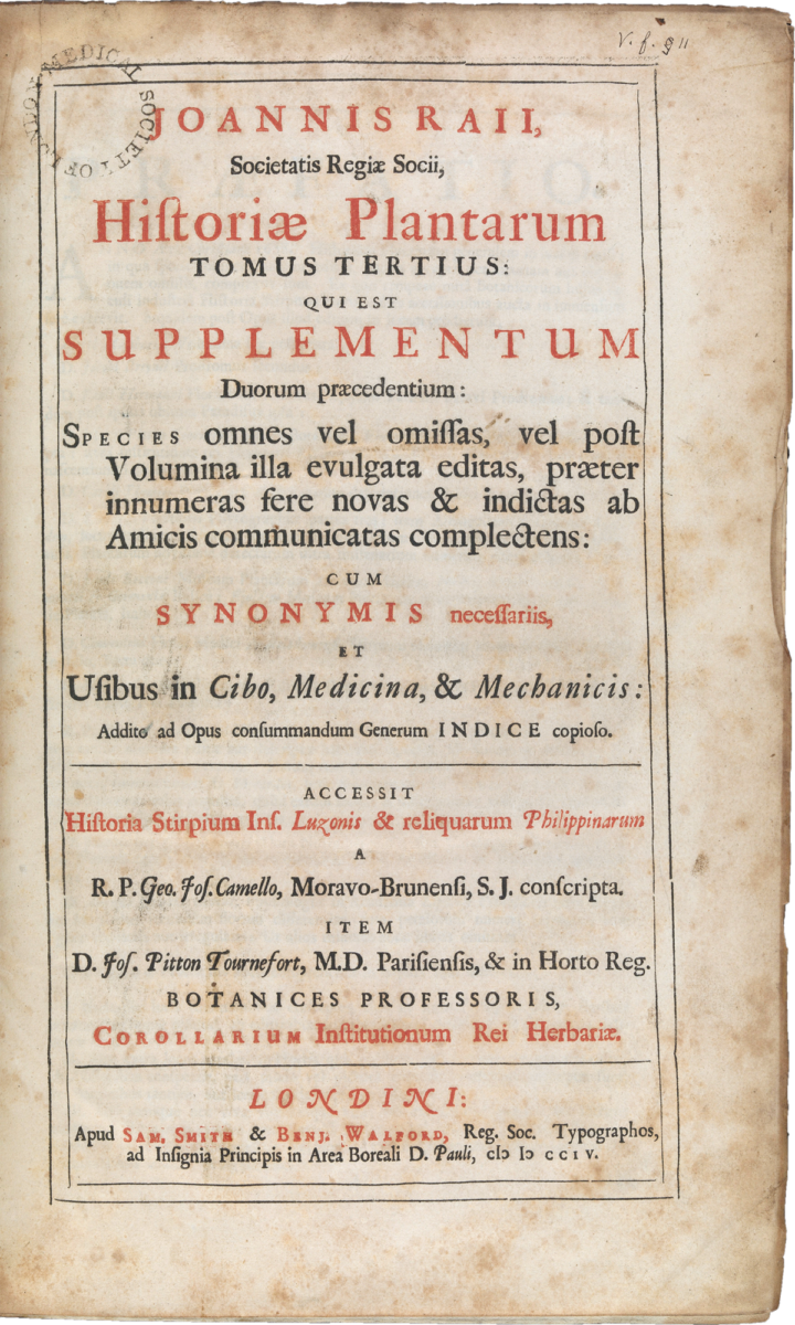 Historia plantarum title page