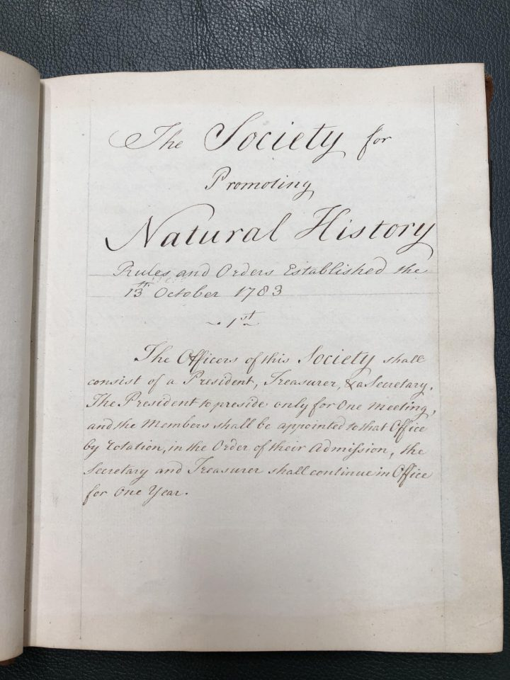 JES was 1 of 133 members to sign the rules and orders book when he joined the society in 1784 (SPNH/1/1)