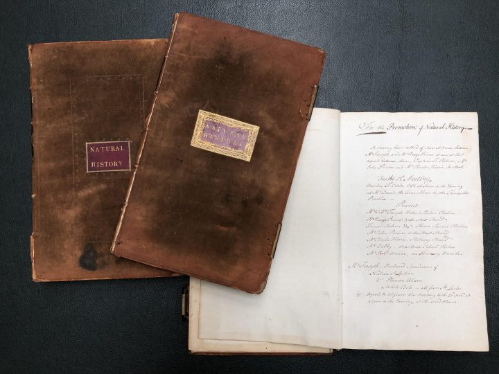 The minute books of the SPNH contain handwritten accounts of the society's proceedings (SPNH/2/1)