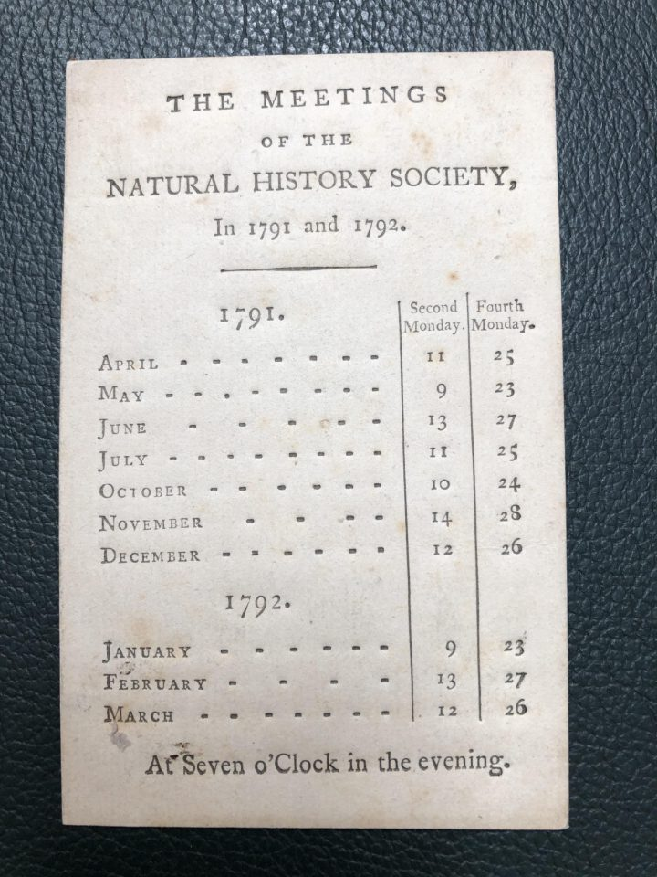Pocket calendars like these were given to members to help them keep track of when meetings would take place (SPNH/5)