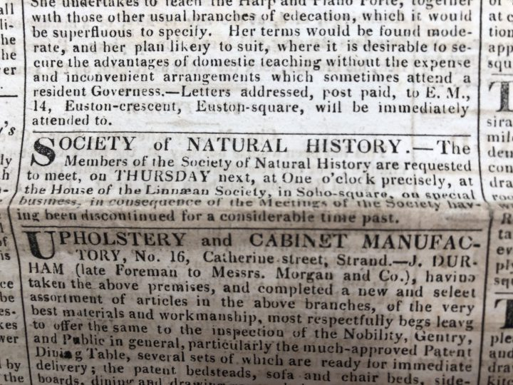 The final meeting of the SPNH was advertised in The Morning Herald on 28th May 1822 (SPNH/7)