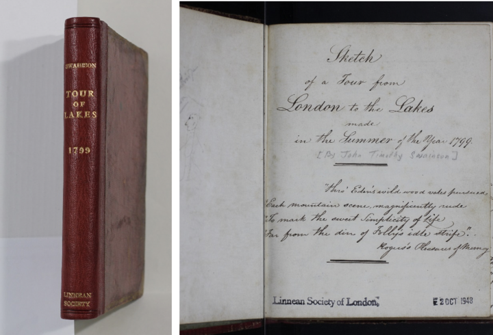 MS/174a: J.T. Swainson, Travel Diary – Spine and Title page with illustration