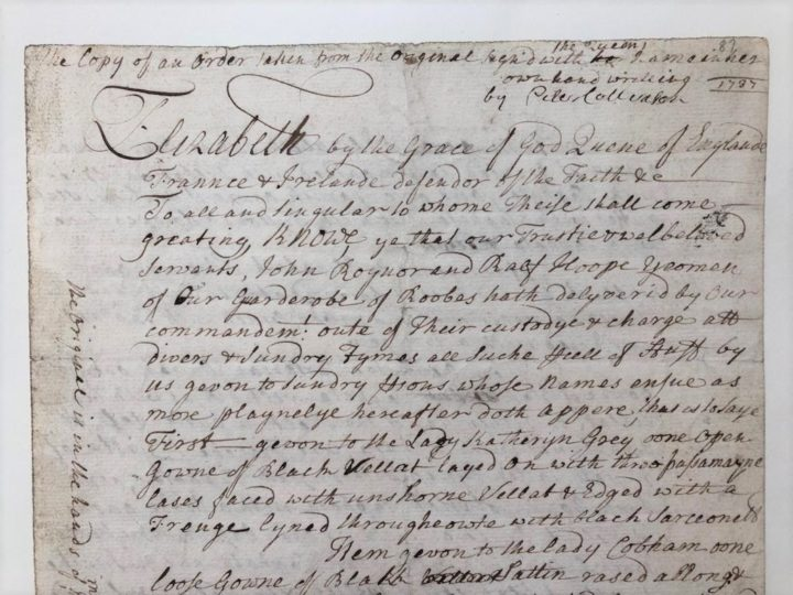 An extract from Collinson's copy of a handwritten order made by Queen Elizabeth I (MS/323a/87-88)
