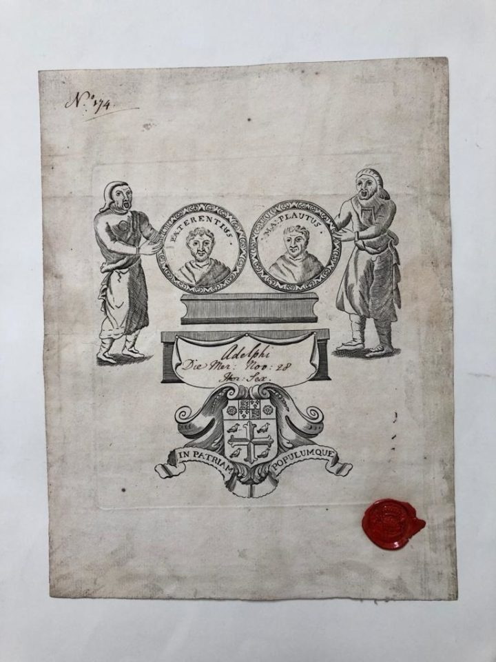 Bookplate at the front of the first commonplace book (MS/323a)
