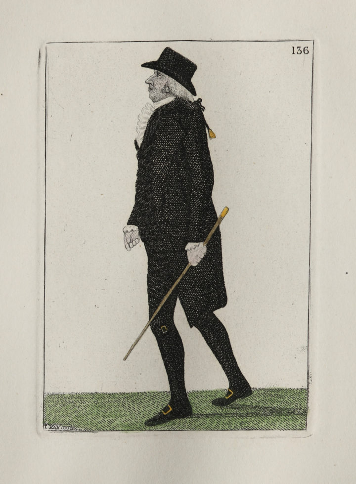 An etching depicting James Gregory, dressed in dark clothes and walking with a cane.