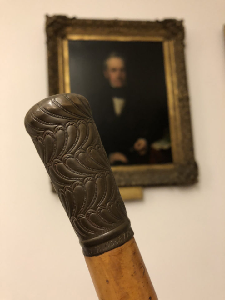 A close up image of the cane in front of a portrait of the Scottish Botanist, Henry William Pickersgill RA (1782-1875).