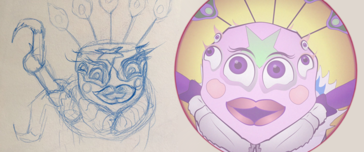 A sketch of Petunia alongside her final animated version