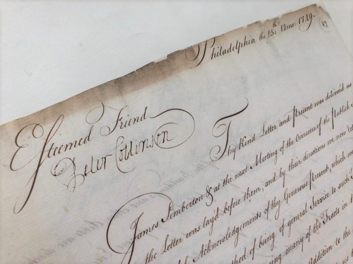 """An official in Philadelphia thanks his """"esteemed friend"""" Collinson for a donation of books and papers to the public school of Philadelphia in 1749"""