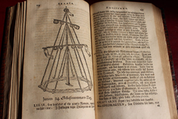 full-page sketch of the elaborate maypole with its yards and shrouds and flags...