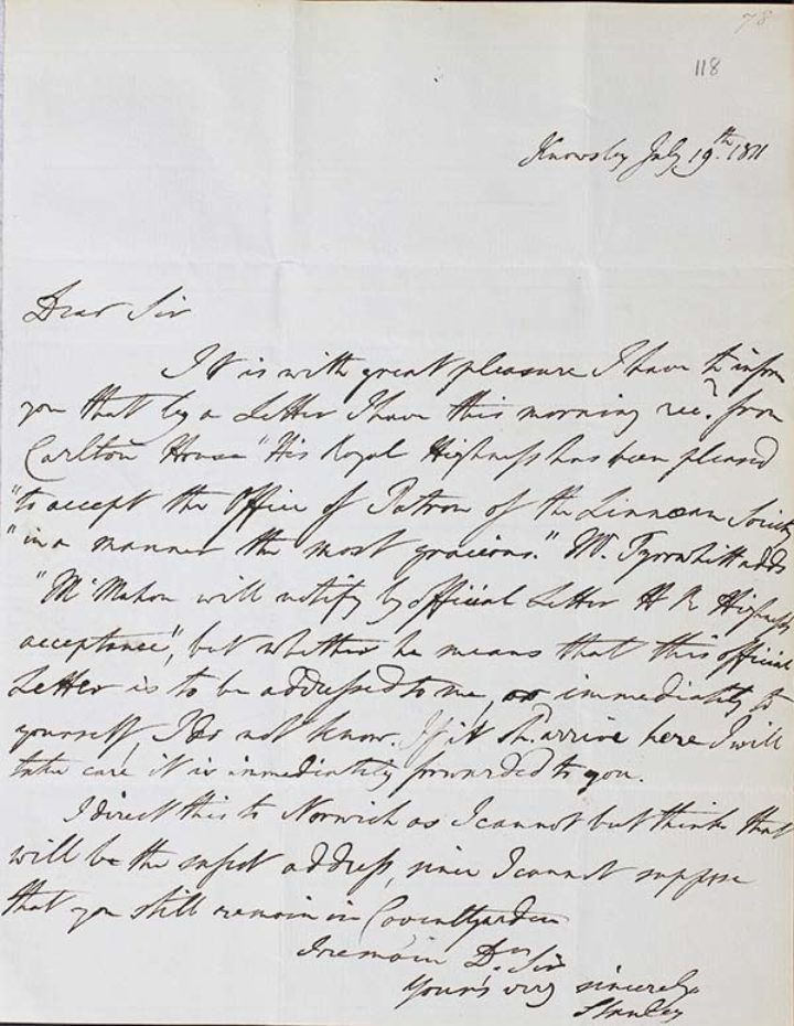 letter of 21 April 1809 to James Edward Smith (1759-1828)